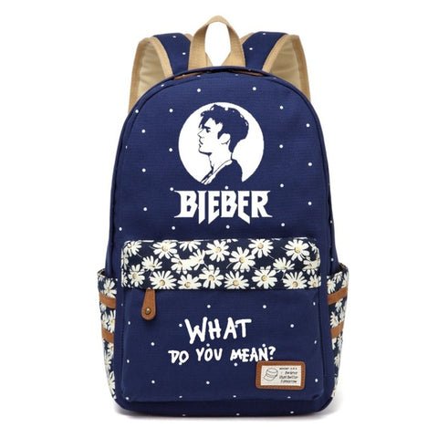 WISHOT justin bieber Canvas bag Flower wave point Rucksacks backpack Girls women Student School travel Shoulder Bag High Quality Backpack Store 1