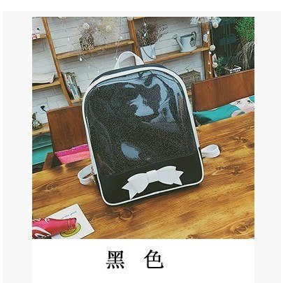 98a485a747 Women backpack Summer Candy Clear Bow Transparent Backpacks PU Leather Solid  Color Cute Schoolbags for teenage