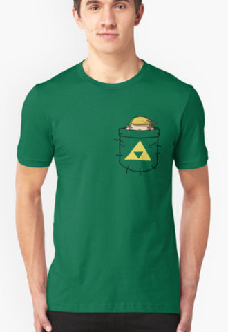 Pocket Link (with triforce) Unisex Zelda T-Shirt Tee Shirt - Animetee