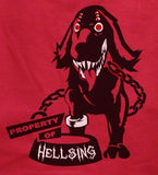 Property of Hellsing Red shirt multi eyed black hou nd T-shirt tee Tshirt - Animetee - 2