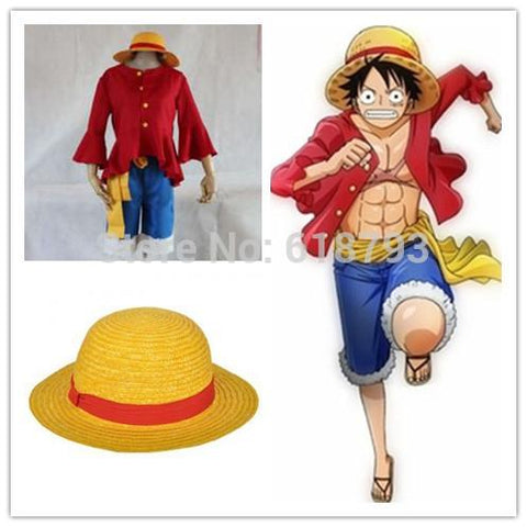 Free Shipping Cosplay One Piece Costumes One Piece Monkey D Luffy Cosplay Set T Shirt Pants Hat Yellow Belt Hu096