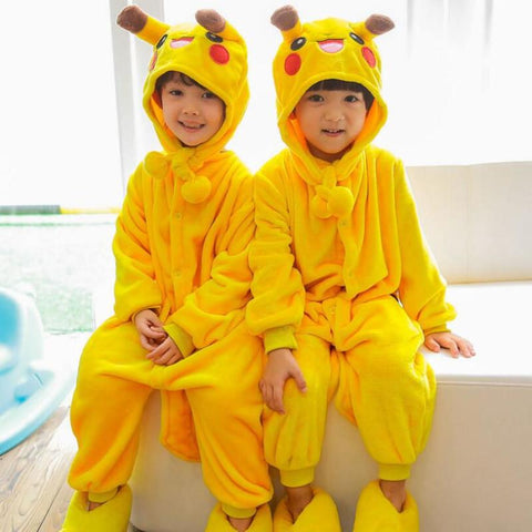 (Slippers not included) Children Jumpsuits Halloween Carnival New Year Cartoon Costumes Onesie Pajamas Pikachu Totoro Unicorn