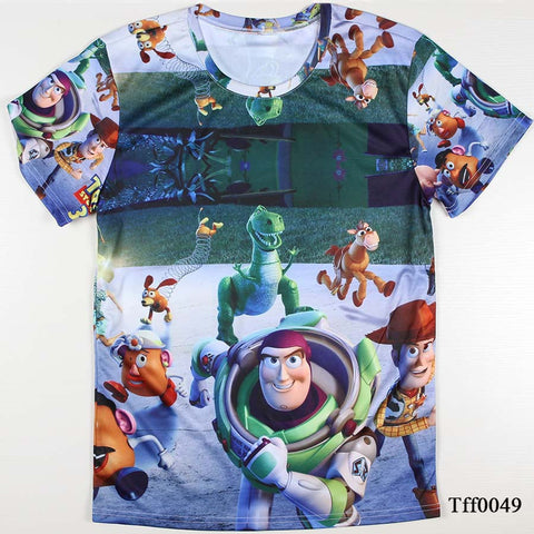All over print Toy Story Woody Trex Buzz disney tee t-shirt hwd 80's - Animetee