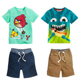 2016 New kid apparel Boys Summer Clothing Set Baby Boys Set Suit Cotton T-shirt+ Short Kids costumes Free Shipping - Animetee - 1