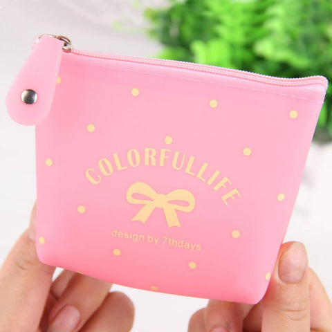 4 Candy  Color Optional Bow Jelly Silicone Coin Purses Child Girl&Student Women Change Purse Lady Zero Wallets Coin Bag