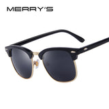 MERRY'S Men Retro Rivet Polarized Sunglasses 2016 Classic Brand Designer Unisex Sunglasses UV400 Fashion Male Eyewear