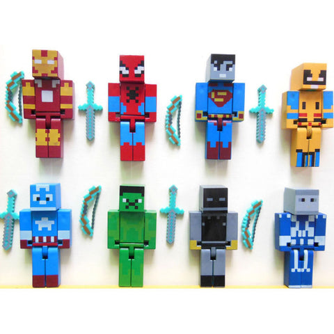 24pcs/lot Minecraft Superhero building block Toy set  2015 New minecraft Series 3 sword zombie steve juguetes figurine pickaxe 80's hwd - Animetee - 1