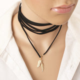 black leather Leaf necklace elegant Fashion Long Rope collier femme Tube False choker Collar Necklace for women X198