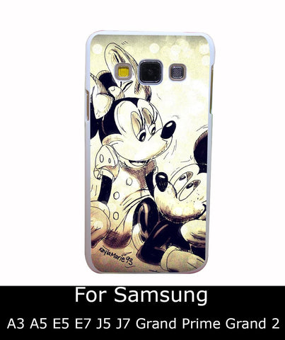 2876Qua Uz241054 Mickey Mouse And Minnie Style White Hard Back Cover for Samsung Galaxy A3 A5 A7 A8 E5 7 J5 J7 Grand 2 & Prime - Animetee - 1