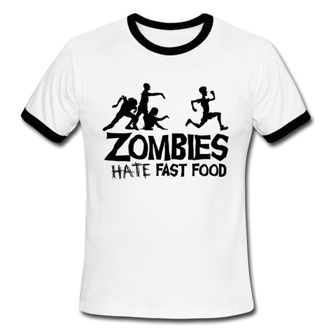 Zombies hate ate fast food Walking Dead Dawn of dead Night of living Apocalpyse Tee T-Shirt Short Sleeve - Animetee - 1