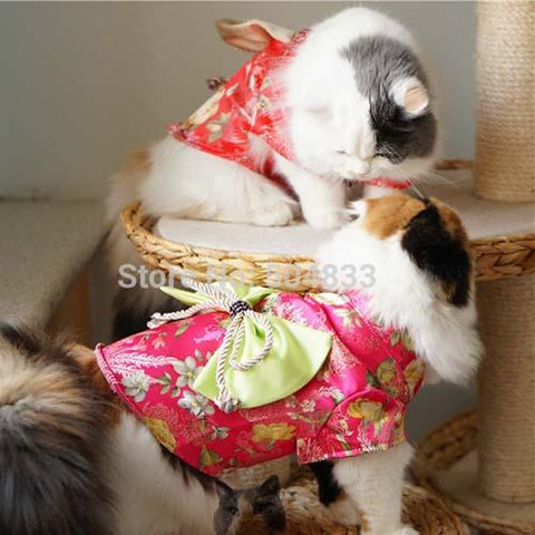 Japan Style Cats Dress With Big Bow Dog Pets Kimono Clothes Xs Xl