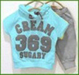 New 2016 summer children clothing set girls boys clothes baby wear kids sport suits T-shirt+pant CREAM 369 SUGARY - Animetee - 5