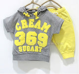 New 2016 summer children clothing set girls boys clothes baby wear kids sport suits T-shirt+pant CREAM 369 SUGARY - Animetee - 7