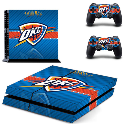 NBA Oklahoma City Thunder PS4 Skin Sticker Decal Vinyl For Sony PS4 PlayStation 4 Console and 2 Controllers Stickers