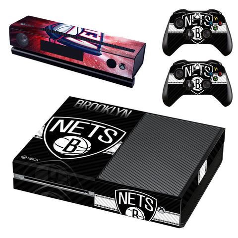 NBA Brooklyn Nets Skin Sticker for Microsoft Xbox One Kinect and Console and 2 Controllers Vinyl Game Stickers