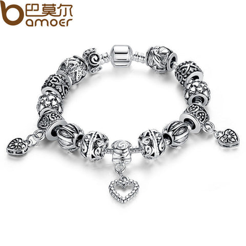 BAMOER Antique Silver Charm Bracelet & Bangle Silver 925 With Heart Pendant for Women Wedding Vintage Jewelry PA1431
