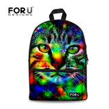 Cat Kitten Dog Owl Tiger Backpack Bag Full Color Funny animal teens youth college - Animetee - 21