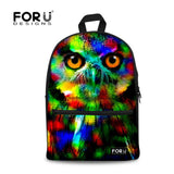 Cat Kitten Dog Owl Tiger Backpack Bag Full Color Funny animal teens youth college - Animetee - 27