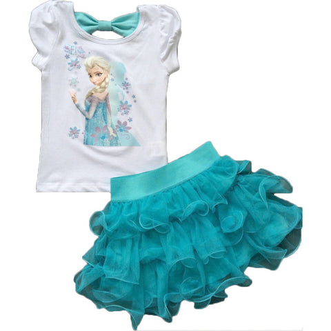 Child Children Clothing Frozen Elsa set Dress tutu bowtie top fashion trendy daughter gift - Animetee - 3