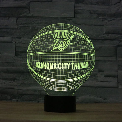 Acrylic Colorful NBA OKLAHOMA CITY THUNDER 3D Basketball Night Light USB Novelty USB Decor Lamp Creative Holiday Gifts