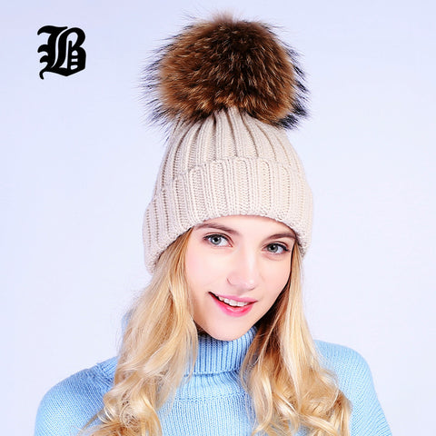 0fd42e62fb3  FLB  Wholesale Real Mink Fur Pom Poms Knitted Hat Ball Beanies Winter Hat  For ...