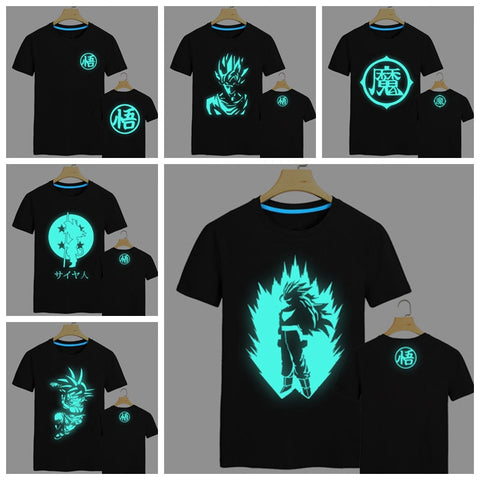 2015 Japan anime Dragon Ball Z T Shirt Super Saiyan fluorescent t shirt men Son Goku Tees Tops Men Clothes Plus size - Animetee - 1