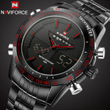 Mens Watches NAVIFORCE Luxury Brand Steel Quartz Clock Digital LED Watch Army Military Sport Watch Male relogio masculino