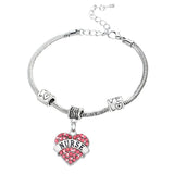 Charm Nurse Xmax Gifts Love Heart Clear Pink Blue Rhinestone Crystal Pendant Silver Bangles Bracelets Party Women Men Jewelry