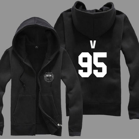 2015 New Kpop Boys Winter Hooides BTS JUNG KOOK JIN JIMIN V SUGA Hoodie Thick Fleece Women/Men's Sweatshirt Zipper Outerwears