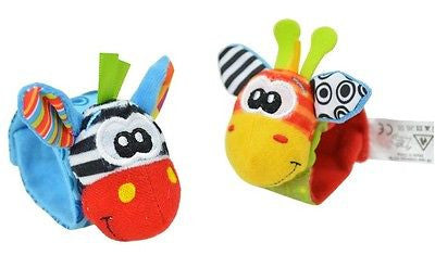 2015 New A Pair Baby Infant Toy Soft Handbells Hand Wrist Strap Rattles/Animal Socks Foot Finders Developmental Toys 001 - Animetee - 2