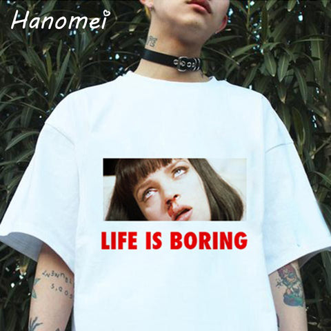 Life is Boring Pulp Fiction Uma Thurman OD Cocaine Nose bleed tee t-shirt shirt hwd tvm