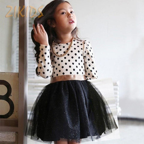 Kids Dress Girl Casual Polka Dots Dresses Korean Style Baby Clothes