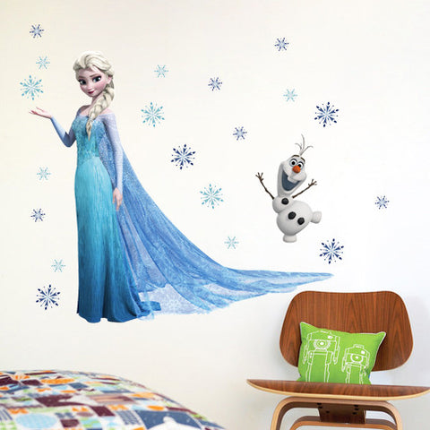 Similar to Fathead Elsa Frozen Snow Queen And Olaf Wallpaper Wall Cling poster Decoration Decal Kids Girls Boys Room - Animetee - 4