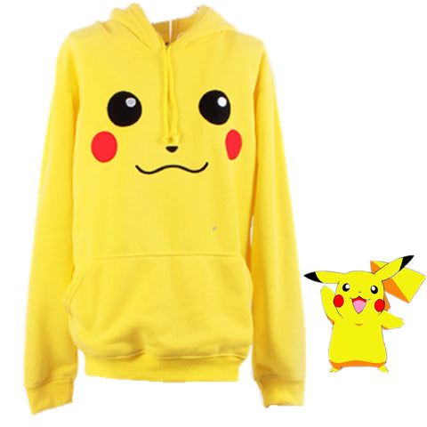 2015 New Arrival Solid Active Sudaderas Mujer free Shipping New Pokemon Face Tail Zip Hoodie Hoody Sweatshirt Pikachu Costume - Animetee