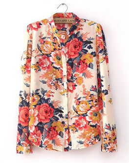 Plus Size Clothing New Fashion Spring European Vintage Floral Print Long Sleeve Women Tops Shirts Blouses clearance