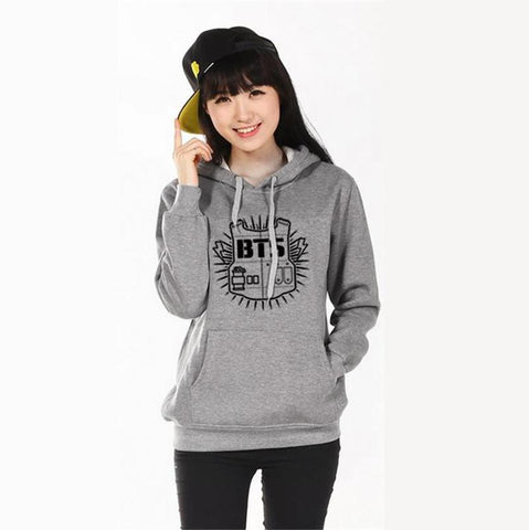 2016 Women hoodie sweatshirt Clothing Hoody Sweatshirts BTS Cotton Black Red Grey Sweatshirts Women Long Sleeve Hoodies jacket