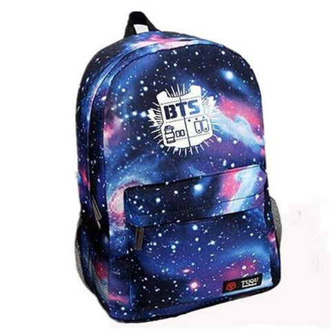 2016 Fashion Laptop Backpack Galaxy Printed BTS School Bag For Teenager Girls Canvas Men Casual Travel Rucksack Mochila Escolar