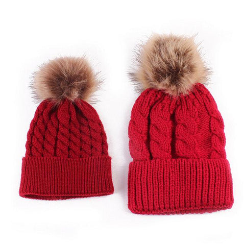 bc2e91fa6eeb3 Mom and Baby Matching Knitted Hats Warm Fleece Crochet Beanie Hats Winter  Mink PomPom Kids Children