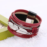 2016 Women Fashion Handmade Alloy Feather Leaves Multilayer Wide Magnetic Leather bracelets&bangles  Bracelets Jewelry femenino