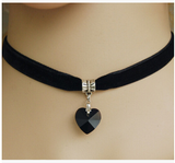 6 Colors Simple Heart Necklaces & Pendants Lace Chokers Necklaces Maxi Steampunk collares bib Bar Necklace collier boheme