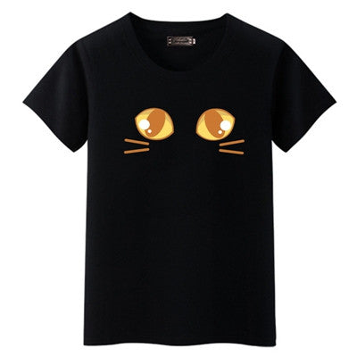 Black Cat Lovers Cat cartoon drawing eyes funny moments tee t-shirt shirt 001 Ladies fashion trendy