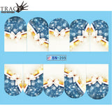 1pcs Nail Art Christmas Water Transfer Tips Snowflake Blue Full Wraps Patterns Temporary Sticker Nails DIY Tool TRBN205-216