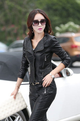 3e82301280def 2017 spring leather jacket women slim Plus size 5XL women s leather cl –  2018 AT 142 30 (Animetee.com Friends)