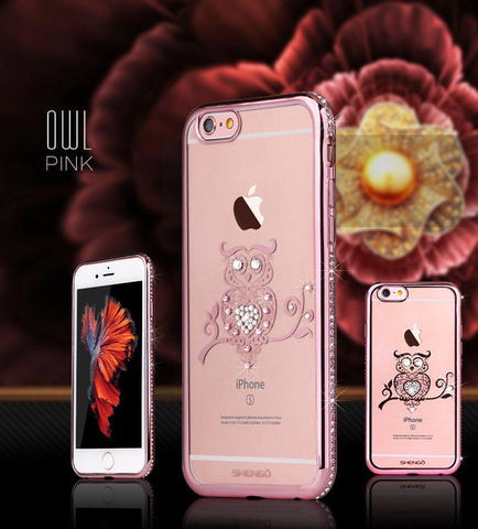 Tomkas Rhinestone Silicone Case For iPhone 6 6S / 6S Plus Glitter Cute Luxury 3D Diamond Cover Gold Pink For iPhone Coque Fundas