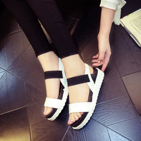 cdf58eb4024efd ... Summer shoes woman Hot Selling sandals women 2016 peep-toe flat Shoes  Roman sandals Women ...