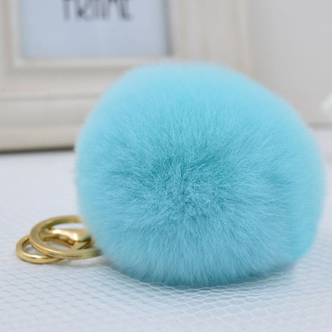 8CM Genuine rex Rabbit fur ball keychain Car key ring Bag Pendant fur pom fluffy  key chains