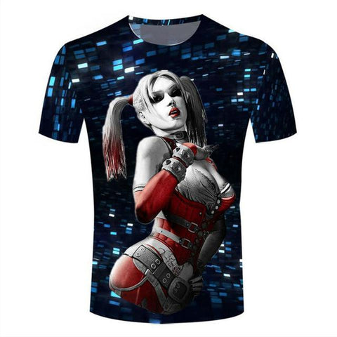 Trendy Harley Queen 3D Printed T-shirts Women Summer Shirts  Hip Hop Tees  Fashion Short Sleeve Tops Cool Bling Clothing Camisetas AT_94_13
