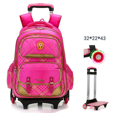 2017 New Trolley Backpack For Children School Wheeled Bag Boys Detachable Backpack For Girls 2/6 wheels teenagers mochila