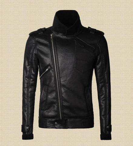 Trendy Leather jackets men fur coats thick warm artificial leather short Black jacket Mens slim fit motorcycle leather jacket 2018 AT_94_13