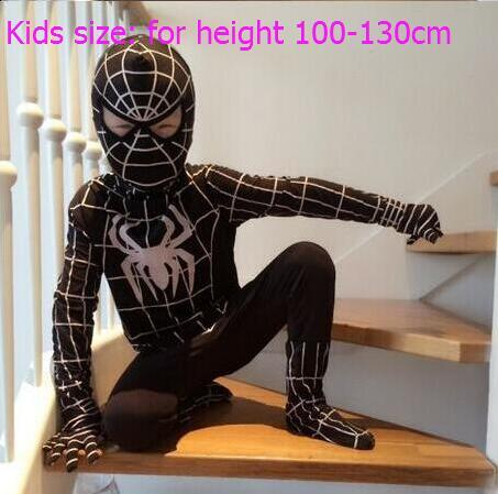 Spider Man Halloween Costume Adults.High Quality Lycra Spandex Amazing Spiderman Costume Adult Kids Child Black Spiderman Halloween Costume